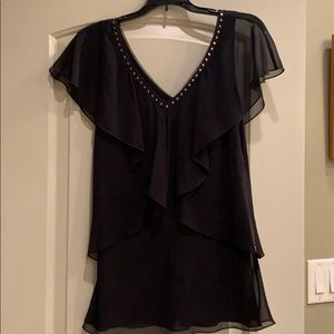 Worn once WHBM black layered top w/ gold accents